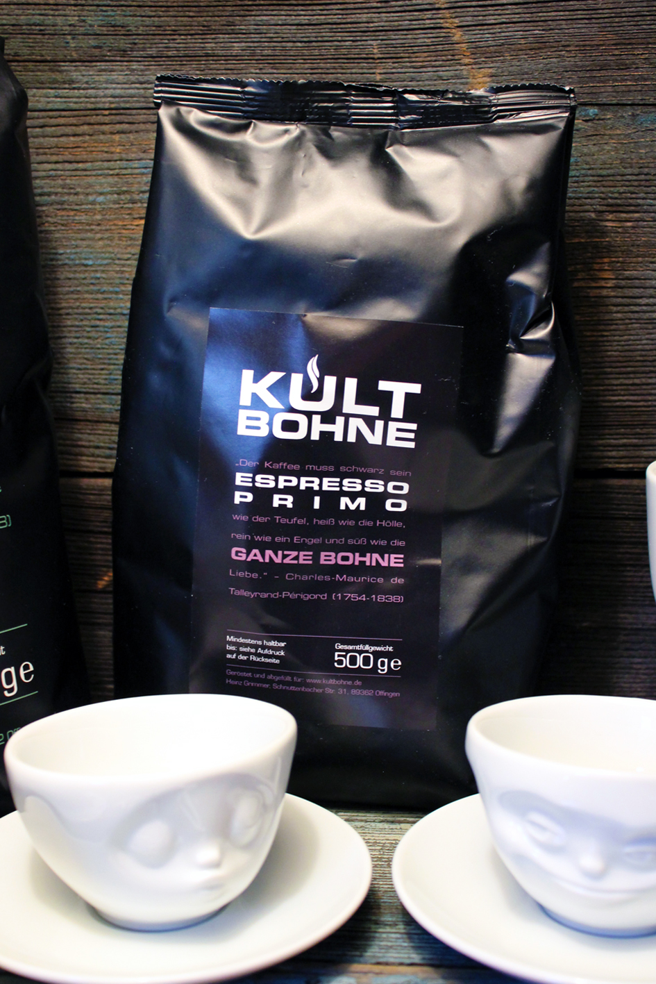Espresso Tasse mit Untertasse – Kultbohne – Der Kaffee der