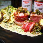 Schweinemedaillons mit gegrillten Champignons, Spätzle und Jausen-Pilz-Rahmsauce